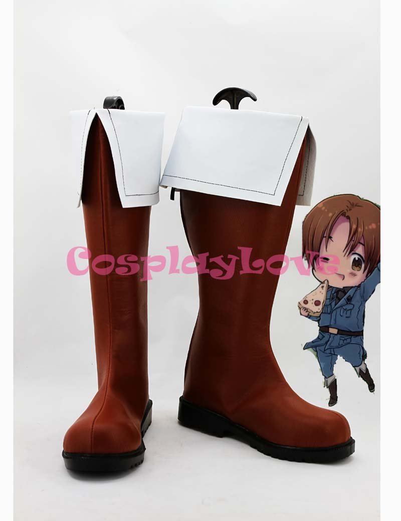 Custom Brown Feliciano Cosplay Shoes Loong Boots from Axis Powers Hetalia Cosplay For Halloween Christmas