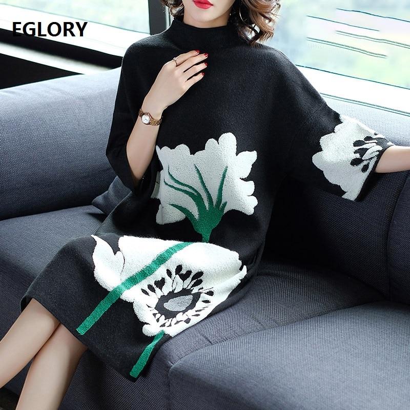 European Plus Size Dress 2018 Autumn Winter Fashion Knitted Sweater Dress Women Big Floral Print Mid Calf Casual Jumper Dress