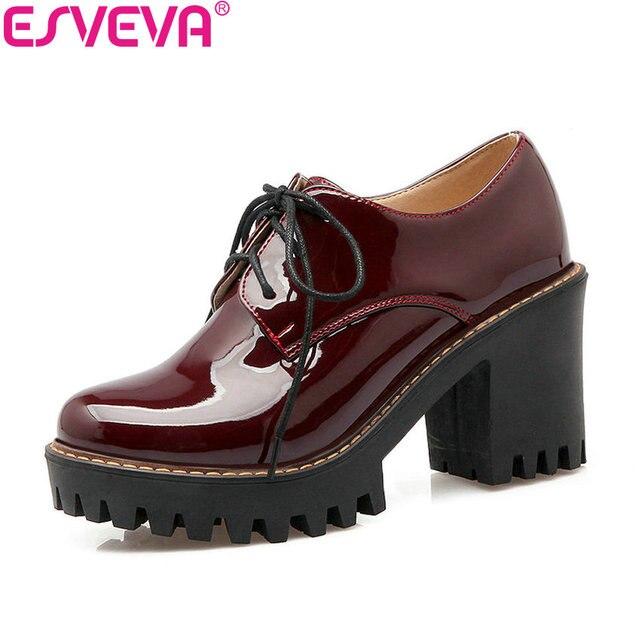 ESVEVA 2020 Kırmızı Siyah Patent Deri Kadın Ayakkabı Kalın Yüksek Topuk pompaları Yuvarlak Ayak Platformu PU dantel up rahat ayakkabılar Büyük boyutu 34-43