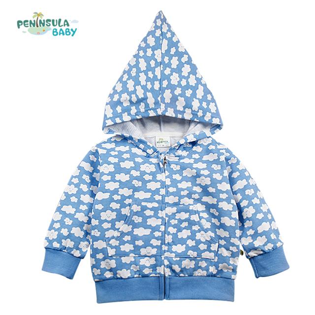 Primavera otoño chaqueta de abrigo de ropa para el bebé recién nacido niña niño cremallera señaló sombrero sudaderas con capucha pequeña nube impreso tops infantiles clothing