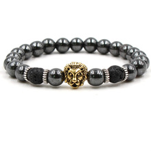 Charm Classic Natural Beaded Stone Bracelet Men Black Beads Gold Leopard Yoga Women Jewelry Gifts