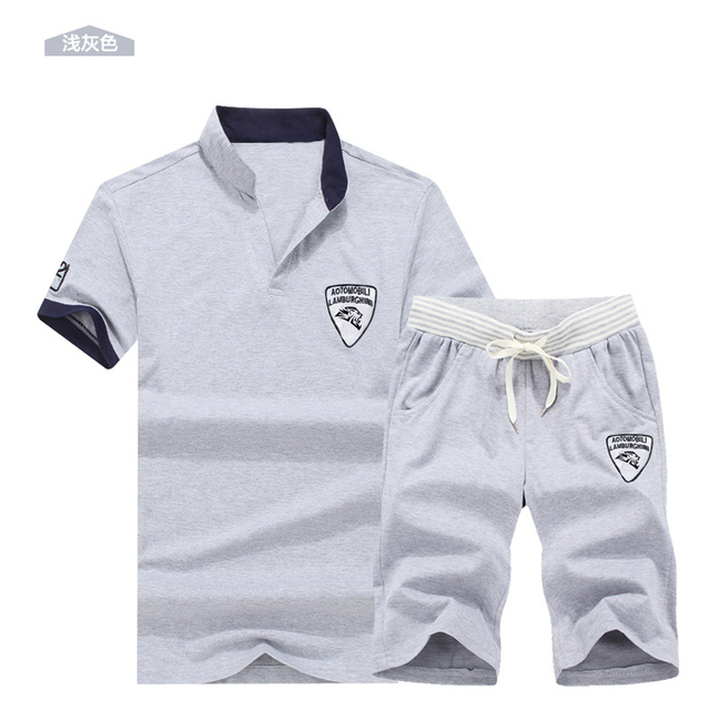 Two Piece Set Men Short Sleeve T Shirt Cropped Top+Shorts Men's Tracksuits 2019  New Causal Sportswear Tops Short Trousers 4