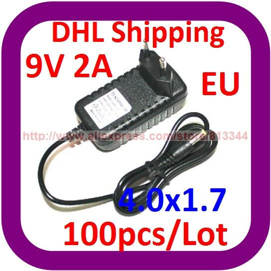 DHL Free Shipping 100pcs/lot Wholesale AC power <font><b>adapter</b></font> 9V 2A 2000mA 4.0MM *1.7MM NEW FOR DVD PLAYE EU image