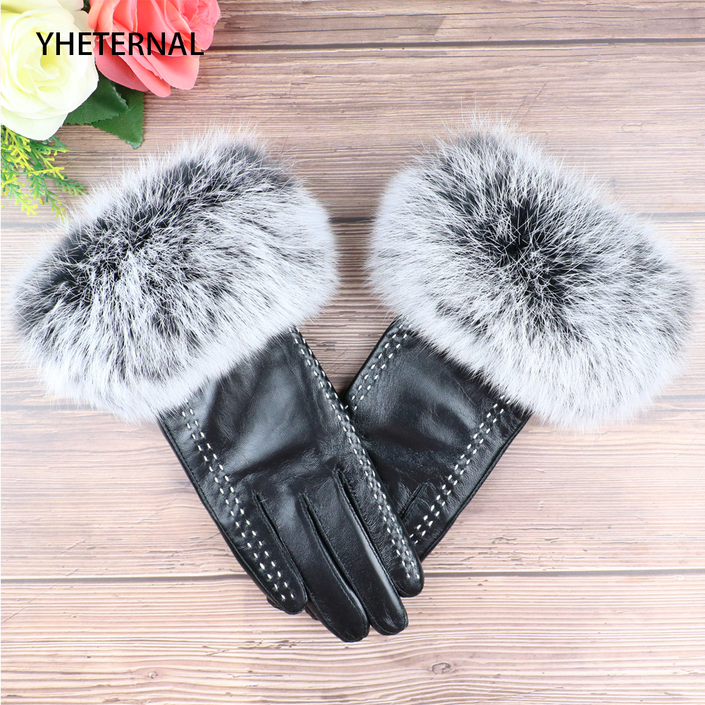 YHETERNAL Women Genuine Leather Gloves Ladies' Warm Add Wool Gloves Female Cape Rabbit Fur Gloves Touch Screen sheepskin mittens