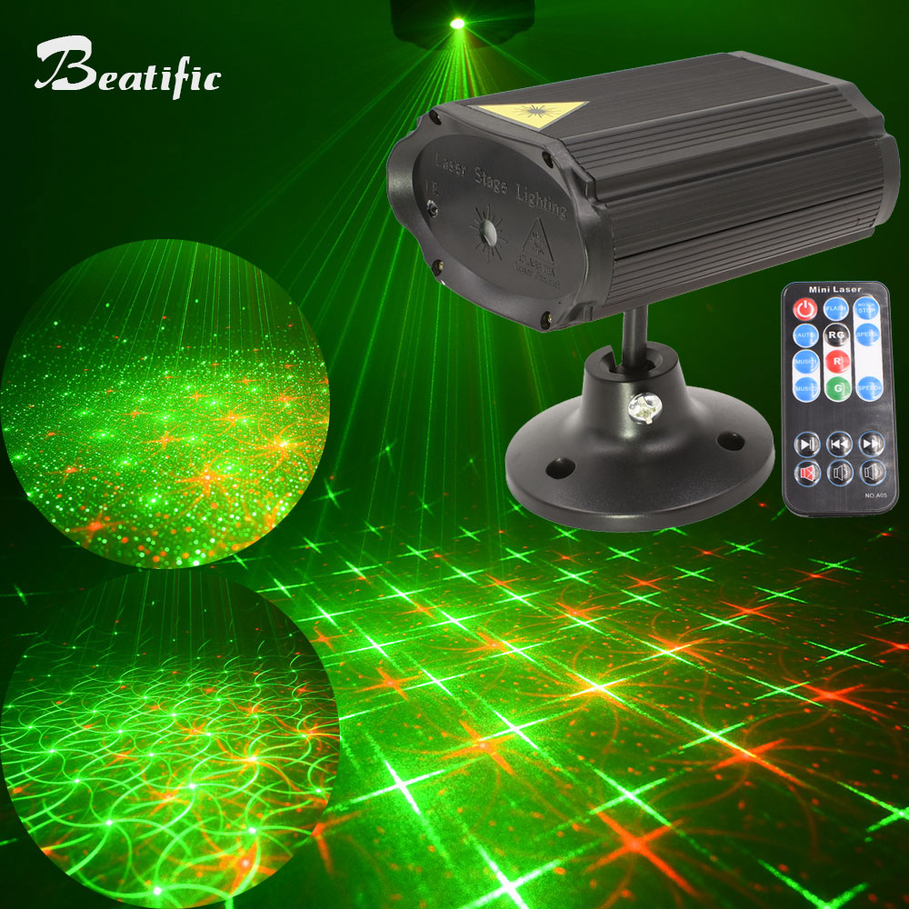Mini Soundlights Disco and Music Equipment 8 Patterns Red Green Laser Projector Sound Party Lights DC5V Lumiere