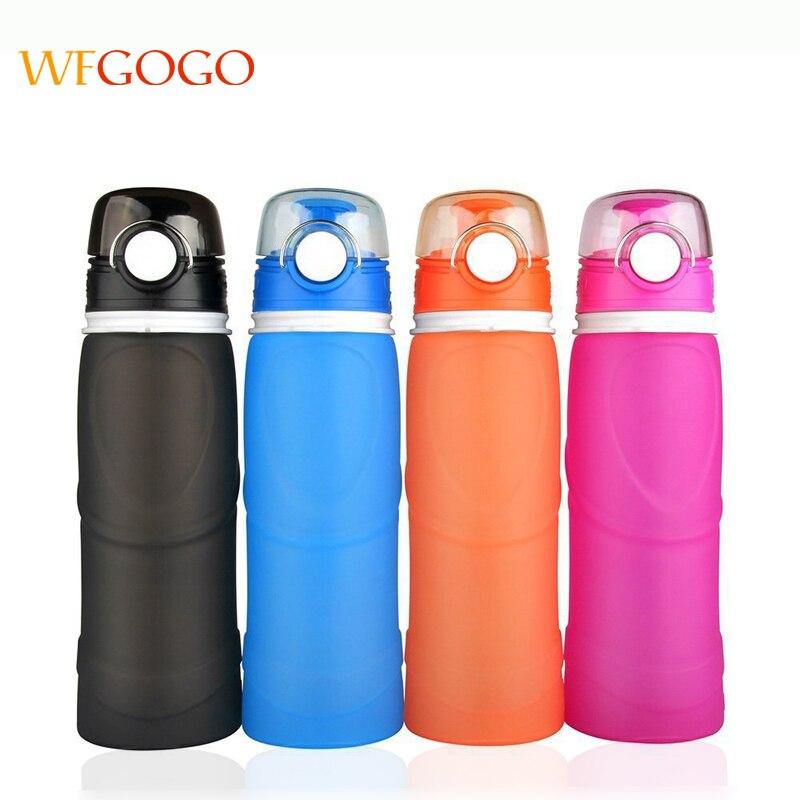 WFGOGO Silicone Water Bottle Foldable Anti Leakage With leak proof valve bottles Travel Outdoor Sports BPA Medical Food grade