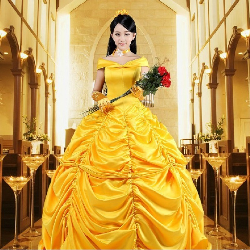 sexy belle yellow dress adult princess beauty and the beast belle costume kids costume girls plus