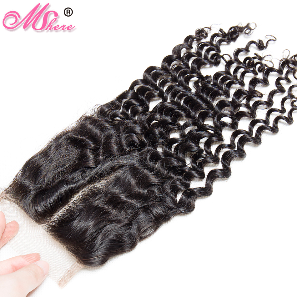 Mshere Peruvian Deep Curly Closure Remy Hair 100 Human