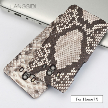 Luxury For Huawei Honor 7X Luxury handmade real python Skin leather phone case Genuine Leather phone case