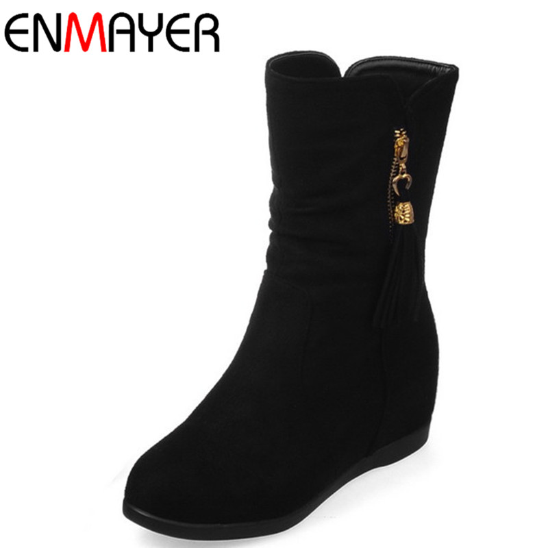 ENMAYLA Fashion Winter Ankle Boots for Women Flock Zippers Round Toe Flat Solid 3 Colors Classic Black Women Shoes Large Size 43 enmayla ankle boots for women low heels autumn and winter boots shoes woman large size 34 43 round toe motorcycle boots