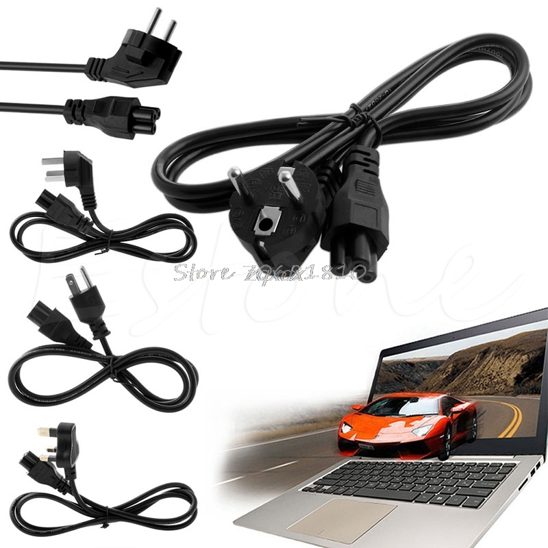 US/UK/EU/AU Plug 3-Pin AC Power Cord Cable For Dell Laptop L