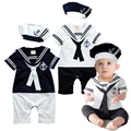 2016 Summer Newborn Baby Rompers Suit High Quality Kids Boys Girls Romper+Hat Navy Style Cotton Short-sleeve Sailor Body Suits