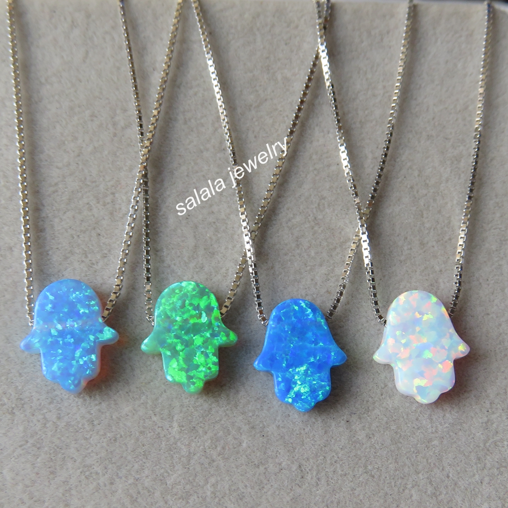 20pcslot Pomotion !   Mix Colors 925 Sterling Silver 11x13mm  Hamsa Opal Necklace & pendant , Lucky  Opal Hamsa  Necklace