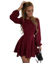 Women Summer Dress Long Sleeve A Line Evening Party Mini Short Dress O Neck Vintage Ladies Casual Pleated Dress