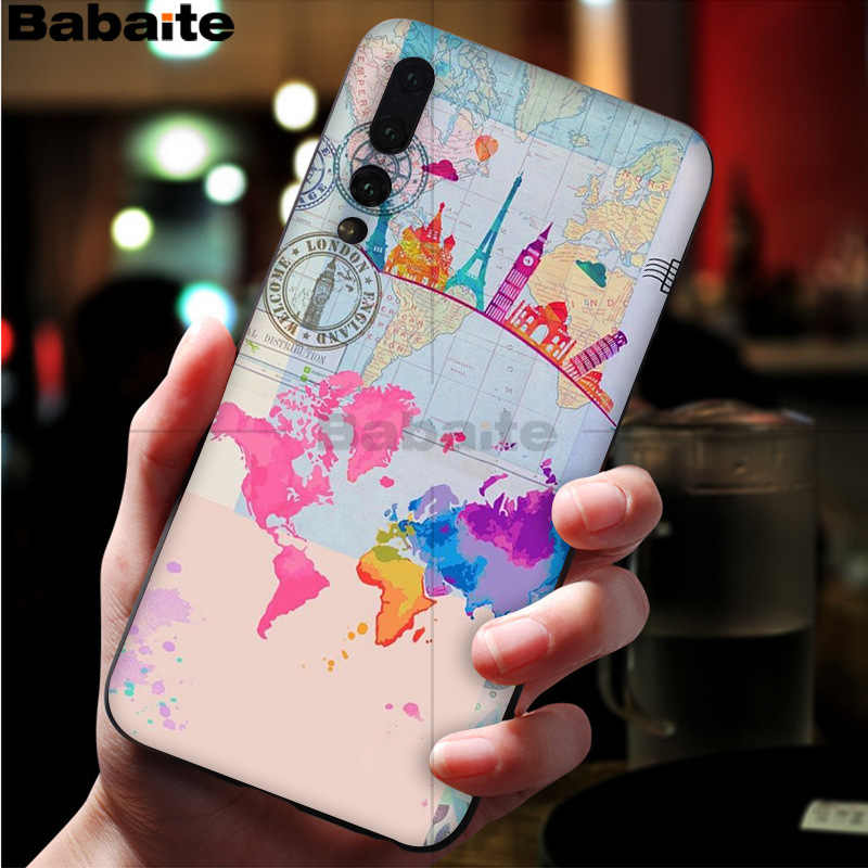 Babaite World Map Travel Plans DIY Printing Phone Case cover for Huawei P10 plus 20 pro P20 lite mate9 10 lite honor 10 view10