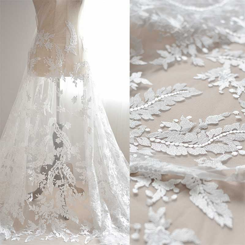 Wedding Gown Fabrics Guide: White Flowers Embroidery Lace Fabric For Wedding Dress