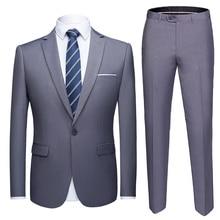 OSCN7 Leisure Solid Suit Men Plus Size Casual Business Wedding Suits Men 2PCS Casual Slim Fit Costume Homme 923