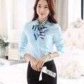 Señoras OL Camisas 2015 Nuevas Mujeres de la Blusa de Manga Larga Arco lazo Formal elegante Blusas Blanco Cielo Azul Superior Femenina Ropa de Trabajo