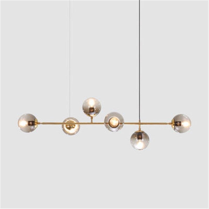 4/6 Heads Nordic Glass Ball Pendant Lights Creative Art Megic Beans Parlor Dining Room Bedroom Bedside Suspension Lights
