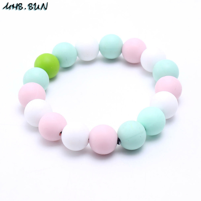 Sun 100 Food Grade Baby Teething Bracelets Round Silicone Beads In Strand