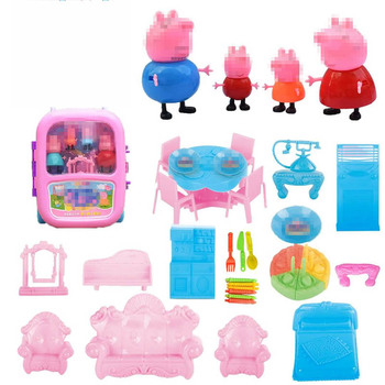 Peppa pig pretend play miniature  simulation trolley case suitcase kids toys play big конструктор peppa pig игровая площадка