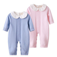 Kids Spring Clothes Baby Rompers Baby Girl Long sleeve Knitted Overalls Infant Girl Princess Cotton Clothes Baby Girl Onesie