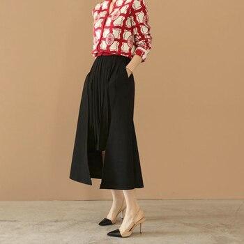 11af9aff131 Envío Gratis falda de mujer de moda 2019 línea a larga media pantorrilla  invierno y otoño lana talla grande S-2XL cintura elástica plisada faldas