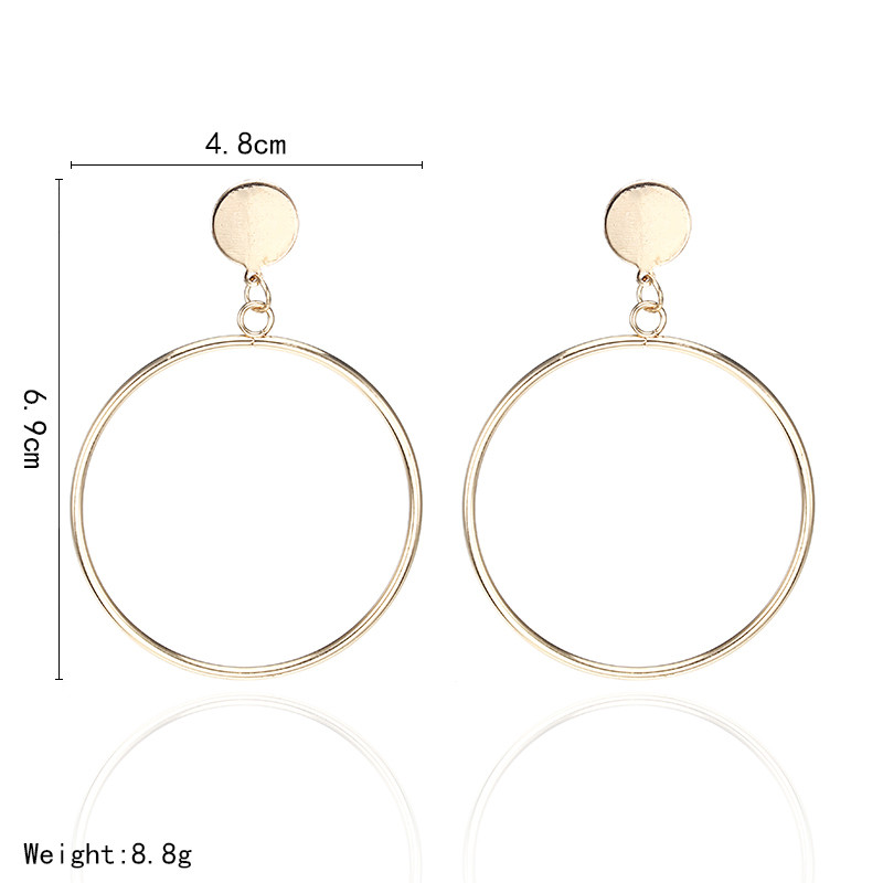 Simple Style Fashion Silver Gold Color Earrings for Women Square Round Geometric Hanging Earrings 18 Female Pendientes Jewelry 7