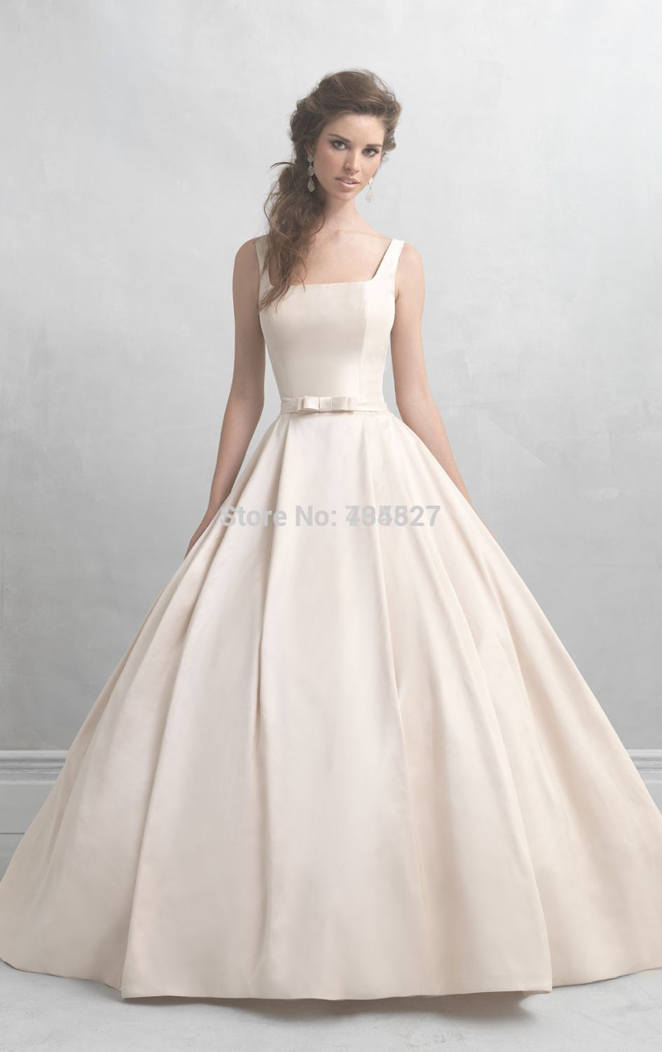 Nitree Timeless Wedding Dresses 2016 Ball Gown Square Bow Sash ...