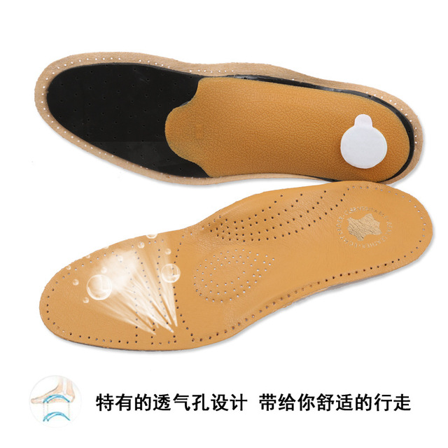 2017 Foot Arch Support Insoles Leather Orthotic Insoles For Plantar Fasciitis Breathable Shoe Pad Accessoires Plantillas Zapato