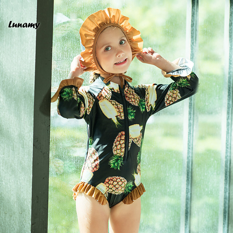 35adc83548 Lunamy Little Girls One Piece Swimsuits Pineapple Print Long Sleeves Beach  Swimwear Children Ruffled Kids Bathing Suit With Cap-in Children's One-Piece  ...