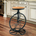 Ferro forjado Cadeira Estilo Bicicleta Roda de Fezes Cadeira de Elevação de Vento Industrial Retro Bar Fezes Cadeira do Lazer de Madeira Maciça