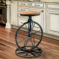 Wrought Iron Bicycle Style Chair Wheel Stool Industrial Wind Lifting Chair Retro Bar Stool Solid Wood Leisure Chair