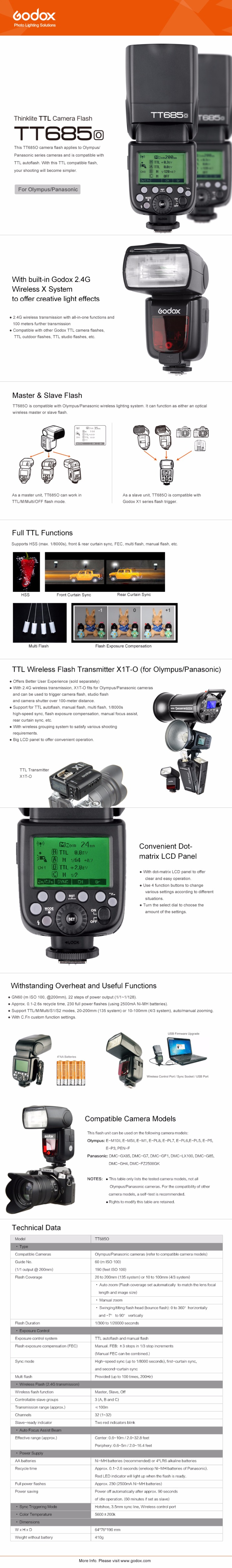 GODOX 2X TT685O Thinklite TTL Camera Flash High Speed 1//8000s GN60 with X1T-O Transmitter Compatible for Olympus Panasonic Cameras Autoflash