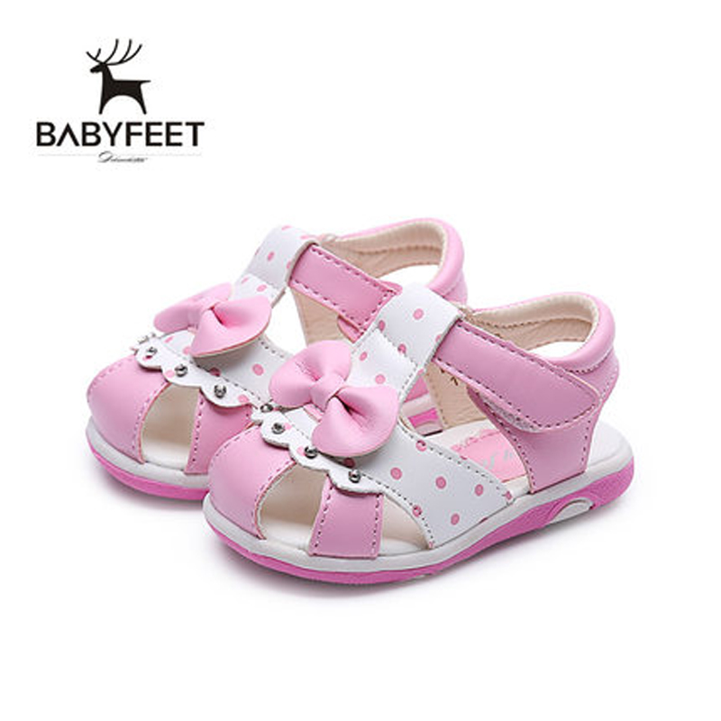Babyfeet Baby Girl Summer Sandals Infant Fashion Light Anti-slip Soft Sole Breathable Cute Pink White Beach Shoes High Quality baby girl prewalker shoes infant girl mikey sneakers mouse flower pink soft sole pram shoes sapato infantil menina zapatos bebes