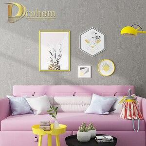Image 4 - Katı Renk Keten Saman Duvar Kağıdı Koyu Gri Modern Oturma Odası Yatak Odası TV Arka Plan Duvar Ev Dekor dokunmamış Duvar kağıt rulolar