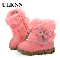 ULKNN Fashion Boots For Teenagers Girls Shoes Winter Boots Kids Snow Shoes Children Butterfly Knot Cotton