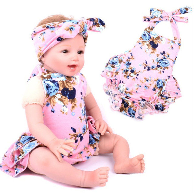 859116e1cb0 newborn baby Romper matched Knot headbands girls boutique outfit ...
