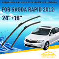 "Escovas Para SKODA RÁPIDA/SPACEBACK (2012-) 2013 2014 2015 2016 Car Windshield Windscreen Wiper Blade 24 ""+ 16"" carros estilo"