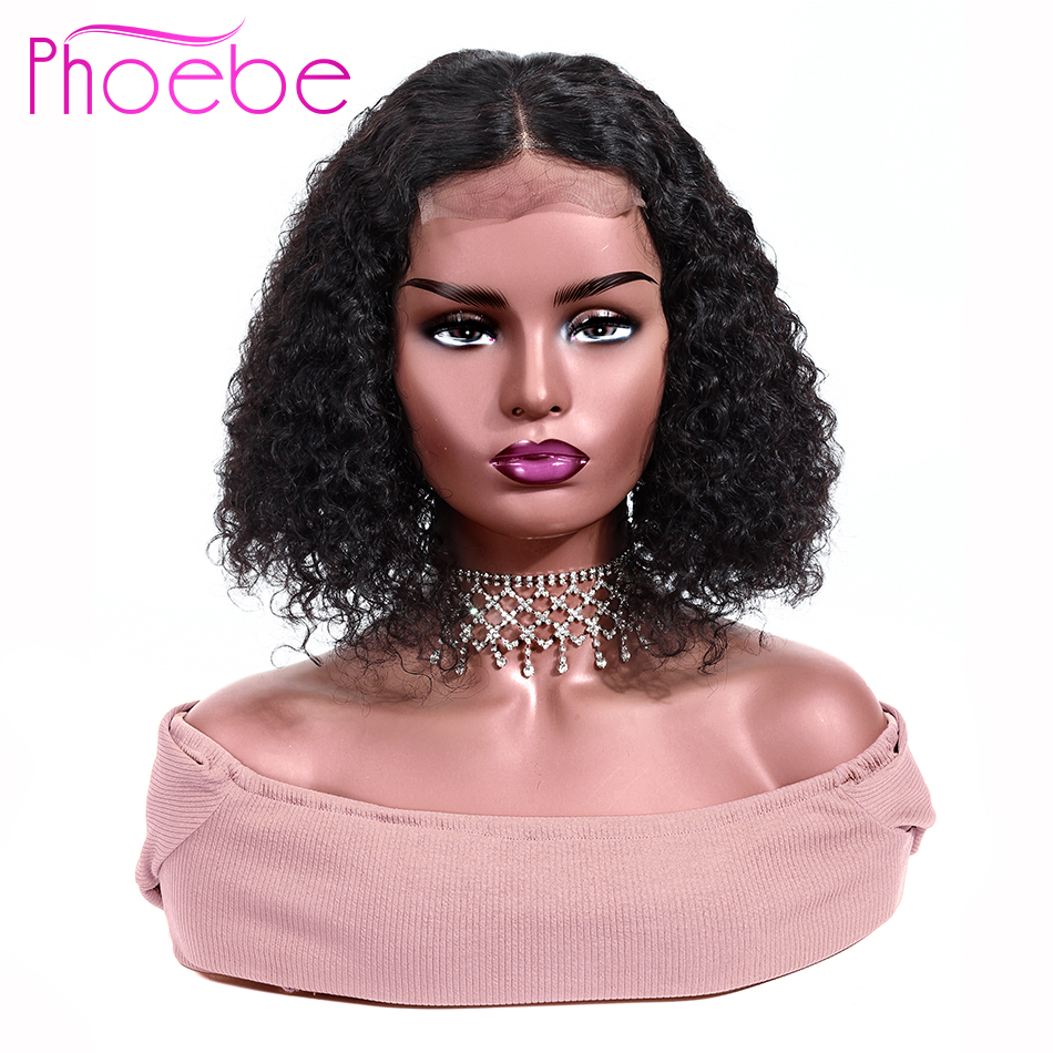 Phoebe Bob-Wigs Closure Human-Hair-Wigs Curly Lace Natural-Color Peruvian 4x4 Kinky