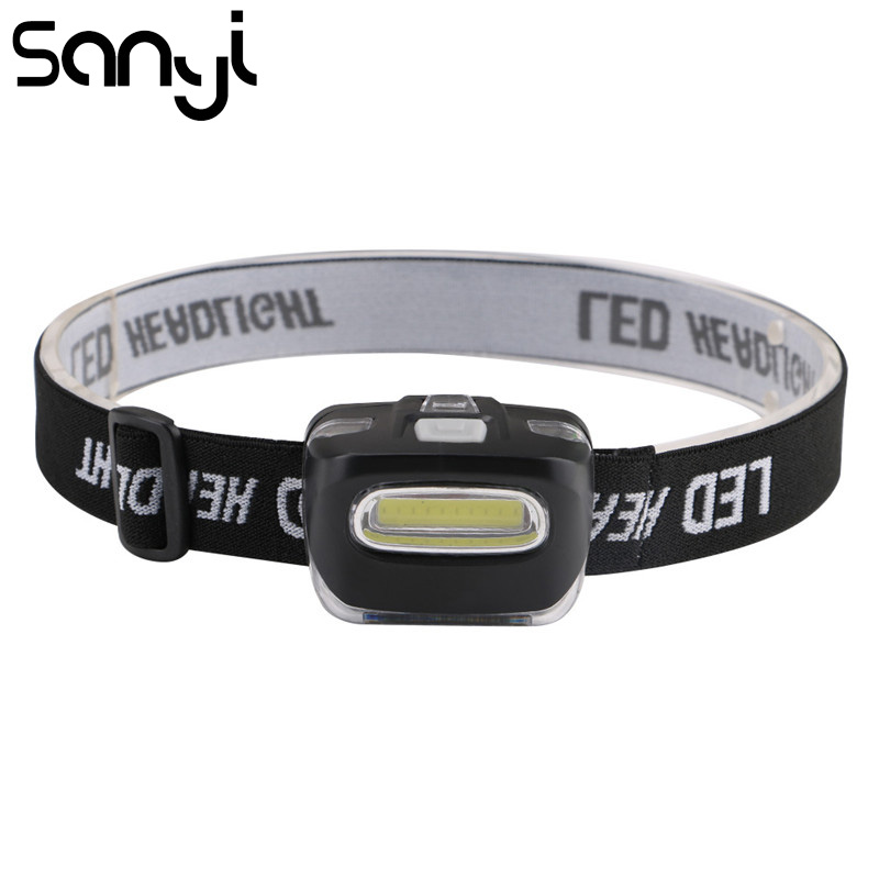 SANYI 3800 Lumen Flashlight Forehead Headlight COB LED Portable Lantern For Outdoor Camping Head Light Lamp Torch By AAA Battery