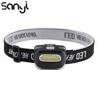 SANYI 3800 Lumen linterna frente faro COB LED portátil linterna al aire libre Luz de cabeza para Camping lámpara linterna de batería AAA