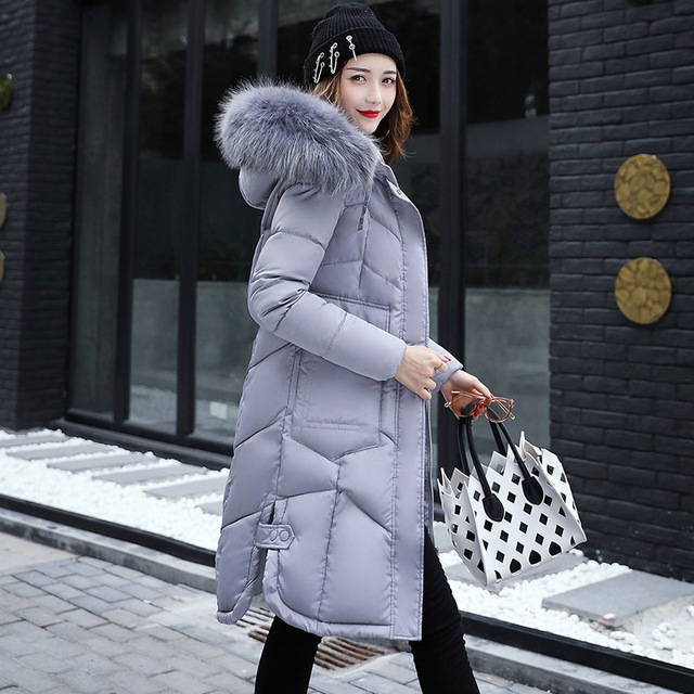 d667b5635024 Winter Slim Puffer Jacket Women Long Down Cotton Warm Parka Hooded Autumn  Female Quilted Coat Faux Fur Collar Lady Manteau Femme