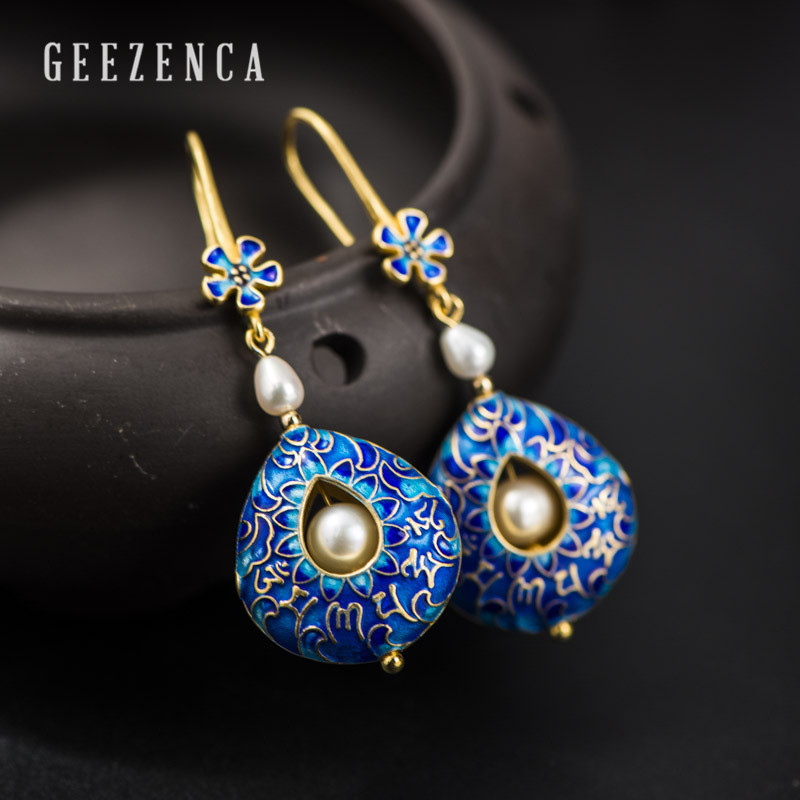 925 Sterling Silver Handmade Freshwater Pearl Buddhist Scriptures Cloisonne Craft Drop Earrings Vintage Dangle Earring For Women