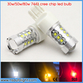 2x High Power 30W/50W/80W CREE Chip T20 7443 W21W LED Bulbs Car Reverse Lights Signal Backup DRL Lights White/Red/Amber