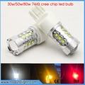 2x de Alta Potencia de 30 W/50 W/80 W Viruta DEL CREE T20 7443 W21W Bulbos LLEVADOS Coche Inversa luces de Señal de Copia de Seguridad DRL Luces Blanco/Rojo/Ámbar