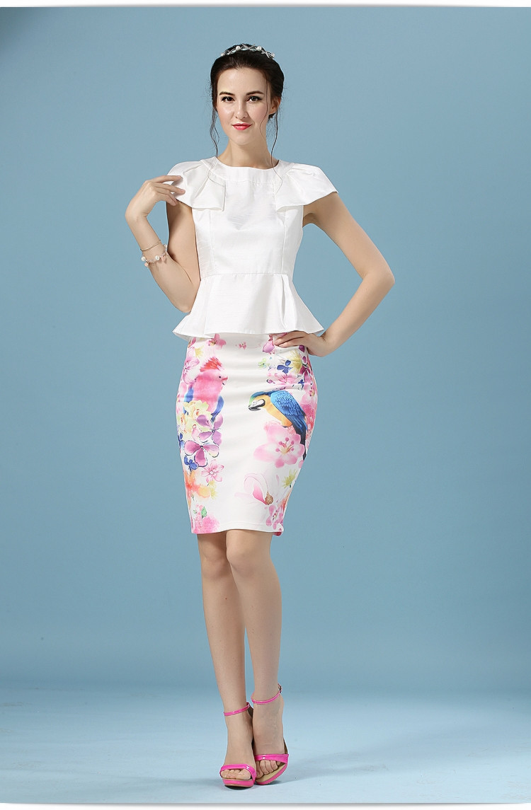 Elegant Office Pencil White Floral Bird Print High Waisted Skirt 6