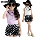 New 2017 Summer Girls Clothing Sets Chiffon Polka Dot Sleeveless Baby Girls Princess Kids Clothes 3T-13 Shirt +Shorts Suits