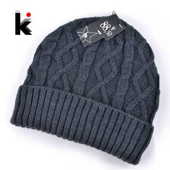 2018 winter men hats beanie knitted wool hat plus velvet cap Thicker mask touca  beanies for men 5 colors 2