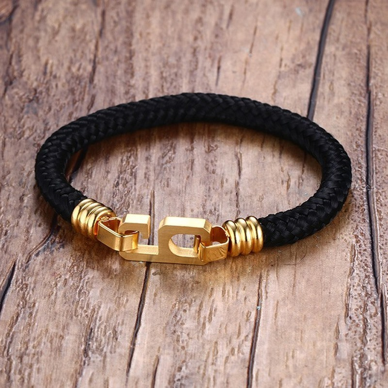 Black Nylon Rope Bracelet Nautical Bangle Men and Women Unisex Jewels Casual Style Braslet Minimalist Brackelts Jewelry